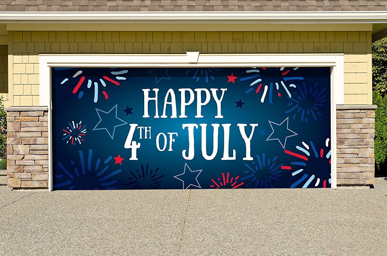 Victory Corps Outdoor Patriotic American Holiday Garage Door Banner Cover Mural Décoration - Fireworks Happy 4th of July - Outdoor American Holiday Garage Door Banner Décor Sign 7'x 16'
