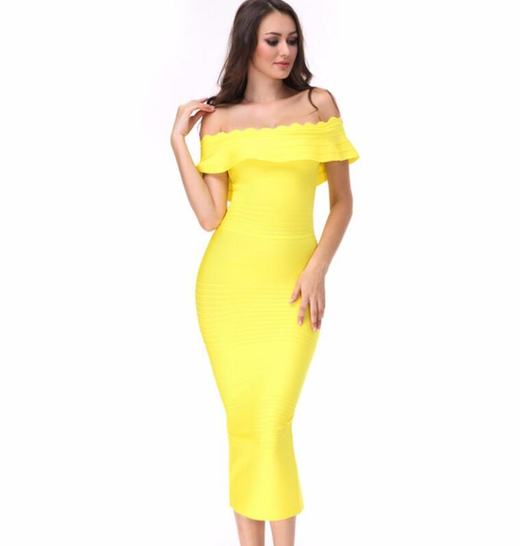 2017 New Off Shoulder Bandage Dress Bodycon party Dress women bodycon dress