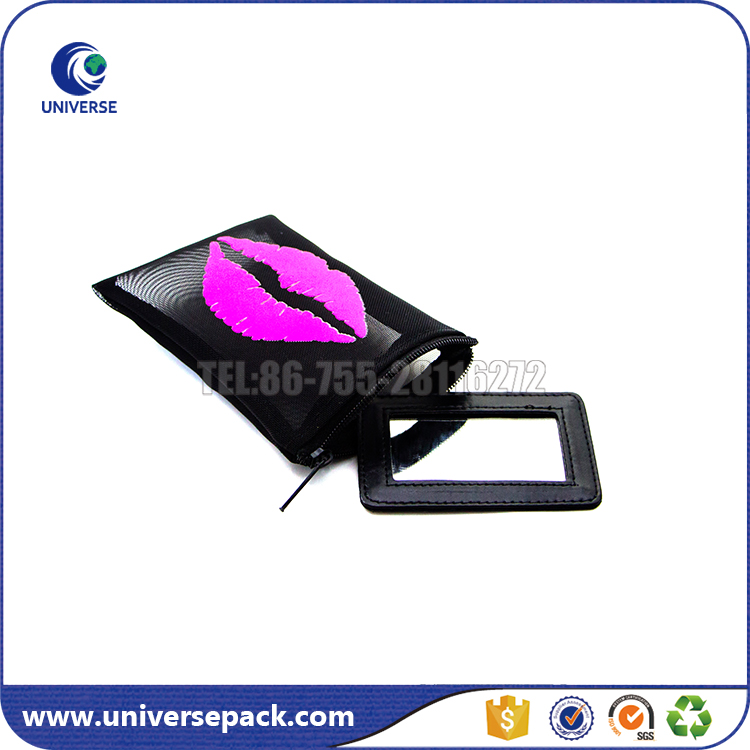 Promotional zippered nylon mesh cosmetic pouch with pu mirror