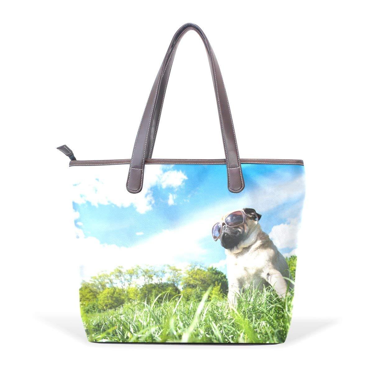 3c71607868 Get Quotations · Dragon Sword Cool Pug Dog Mops Women Handbags Hobo  Shoulder Bags Tote PU Leather Handbags Fashion