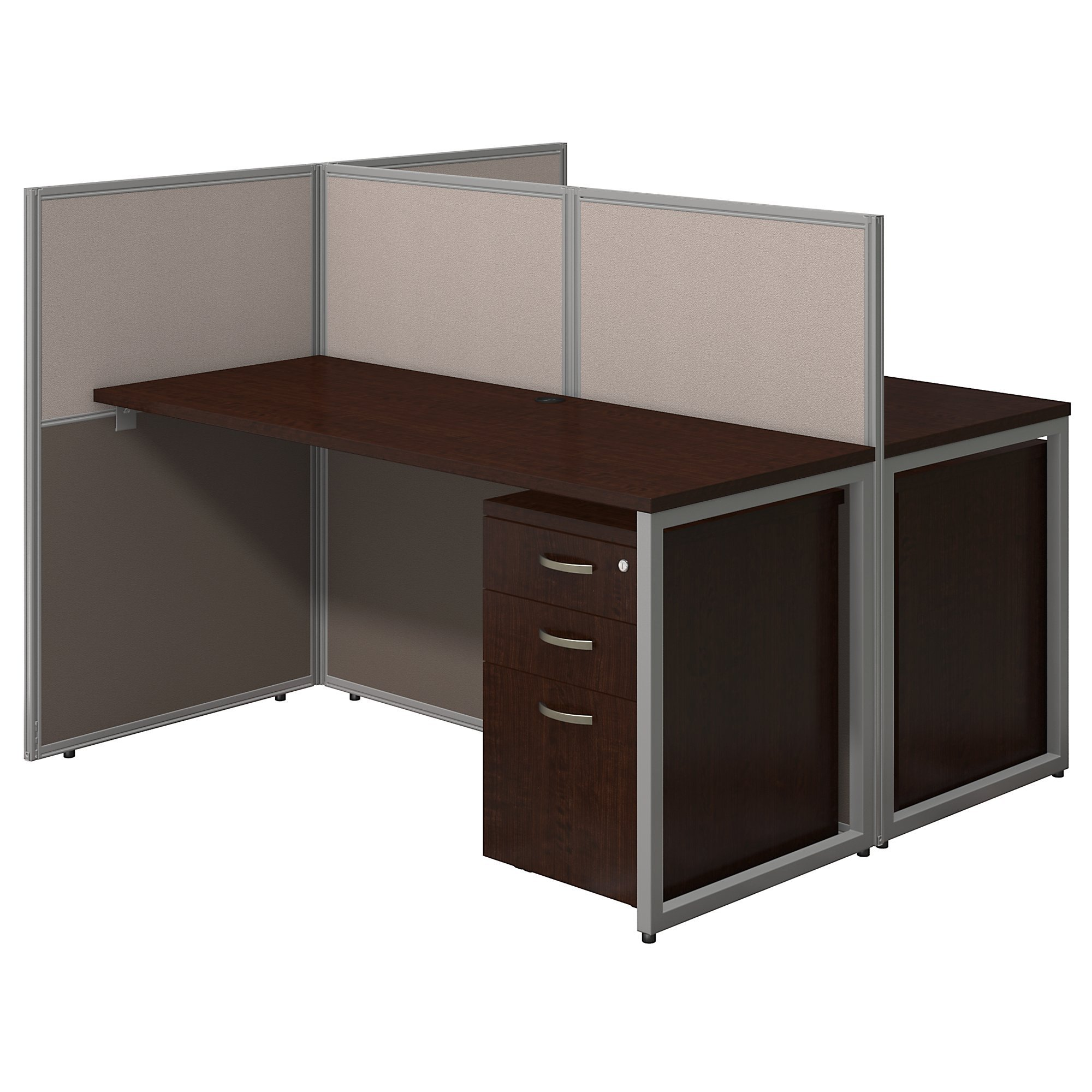 Get Quotations Easy Office 60w Two Person Straight Desk Open With Mobile File Cabinets In Mocha Cherry