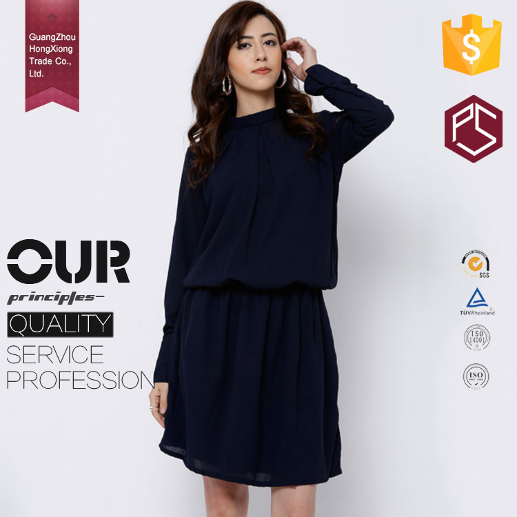 Guangzhou Factory Customize Navy Blue Solid woven Button Closure Long Sleeves Mock Collar dresses women ladies