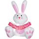 Religious lobby decorations happy easter bunny banner pink & white inflatable rabbit