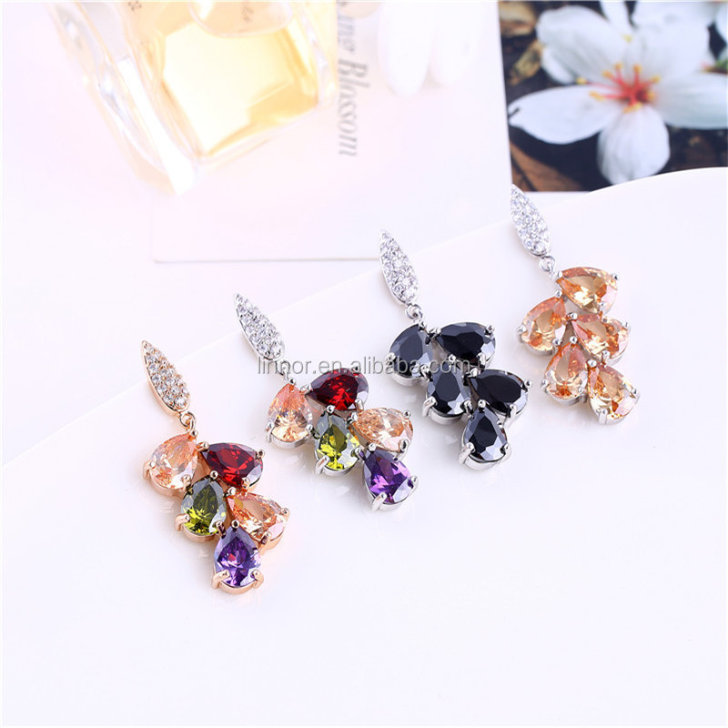 Fruitful Shape Sterling Silver Eternity Gold Plated Wholesale Price Colorful Cubic Zirconia Diamond Earrings