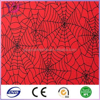 Red With Black Metallic Spiderweb Print Stretch Lycra