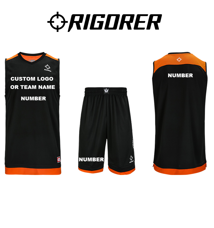 Rigorer basketball uniform black basketball jersey logo design euroleague basketball jerseys