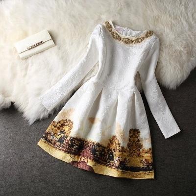 2015 высокое качество женщин платье печать тонкая миниая свободного покроя о-образным с длинным рукавом элегантная короткие платья Большой размер горячая распродажа