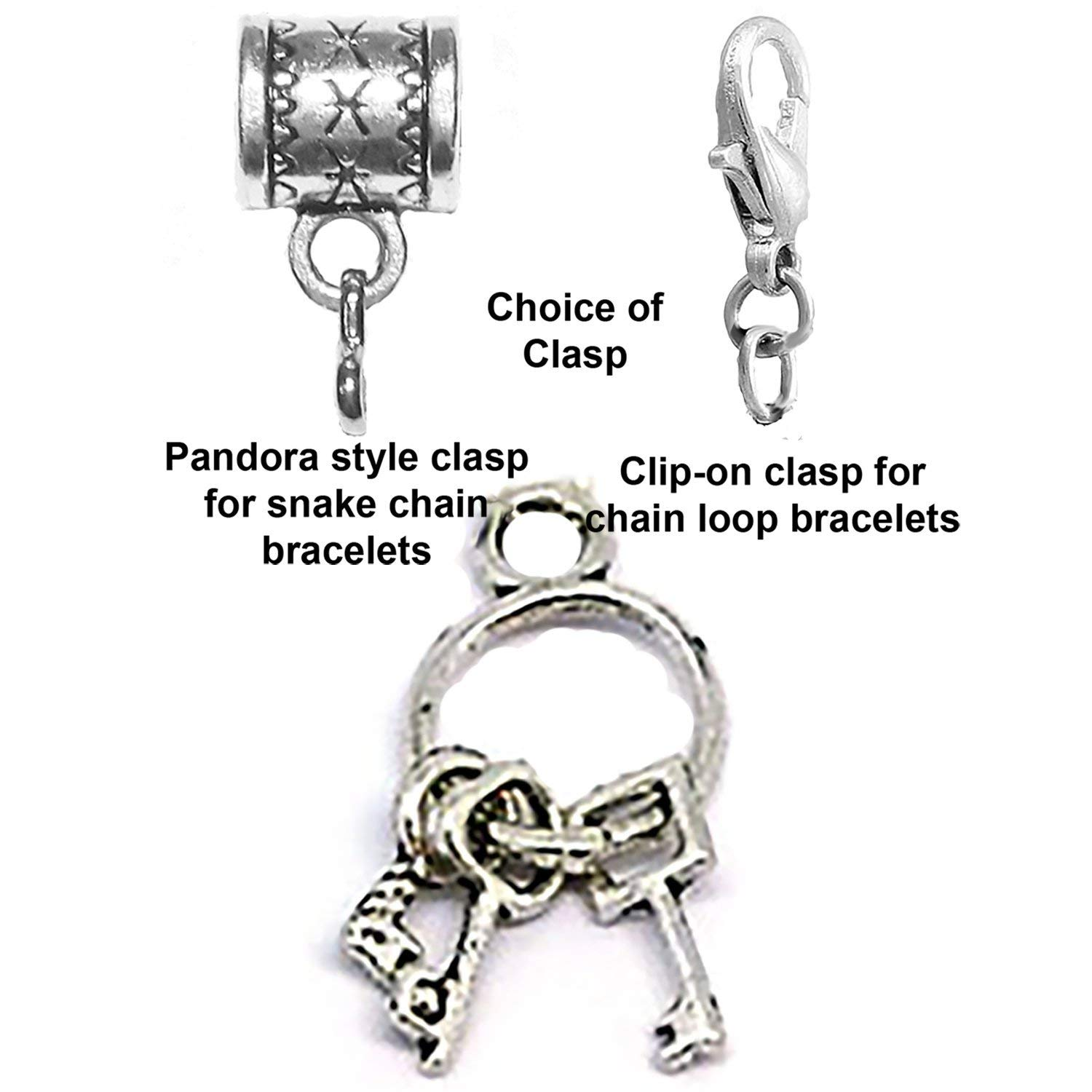 Keys on ring charm Tibetan Silver Hanging charm by Mossy Cabin for large hole snake chain charm bracelet, or add to a neck chain, pendant necklace or key chain. Optional clip-on clasp