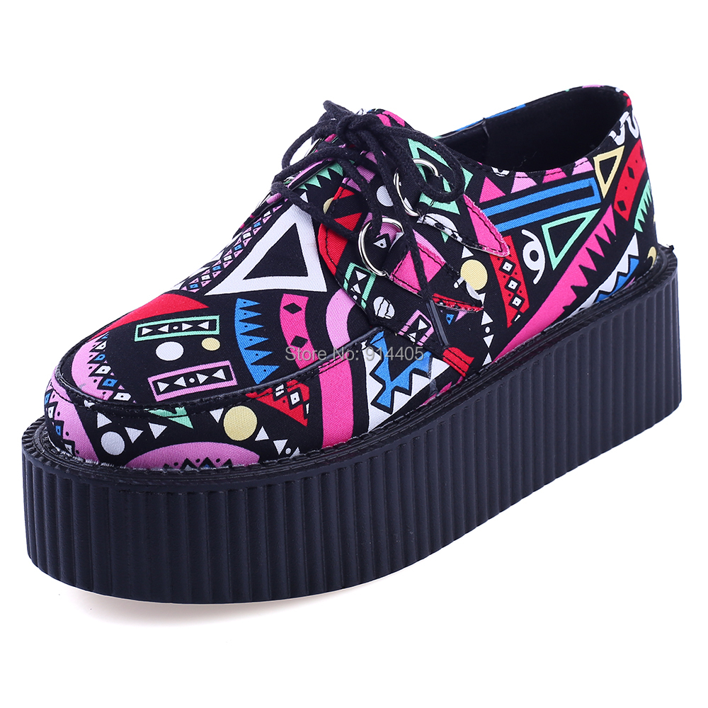 Women's Platform Creepers Flats 2015 Spring And Autumn Women Footwear Fashion Printed Lace Up Thick Flat Platform Harajuku Shoes