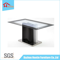 2016 High Quality Glass Table Top Dining Table Stainless Steel Base for Kitchen Furniture