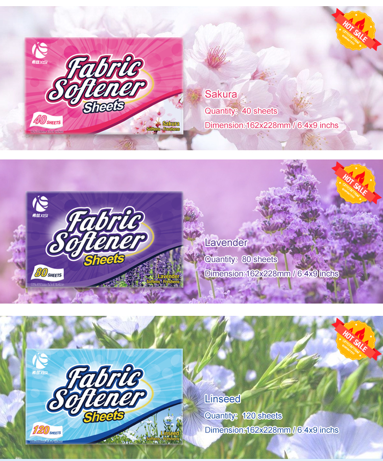 OEM customized stylish  lasting fragrant fabric softener dryer sheets