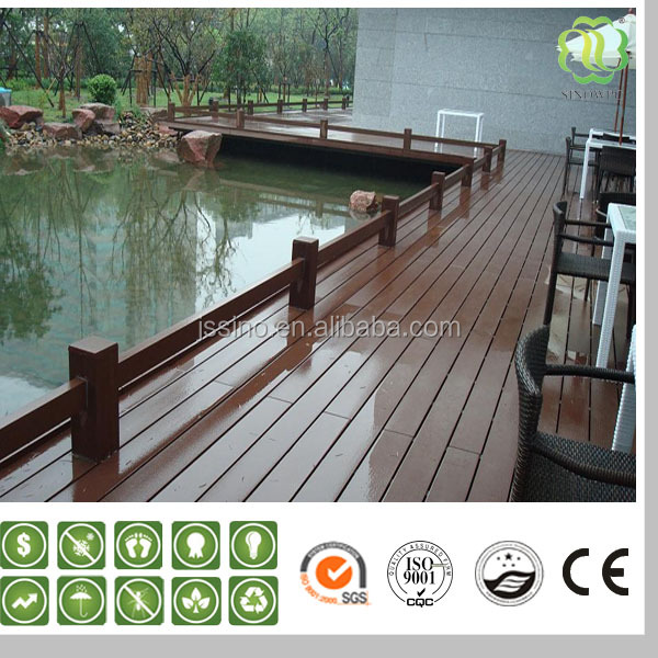cheap150x25mm solid plastic timber decking for park use stair WPC manufacturer