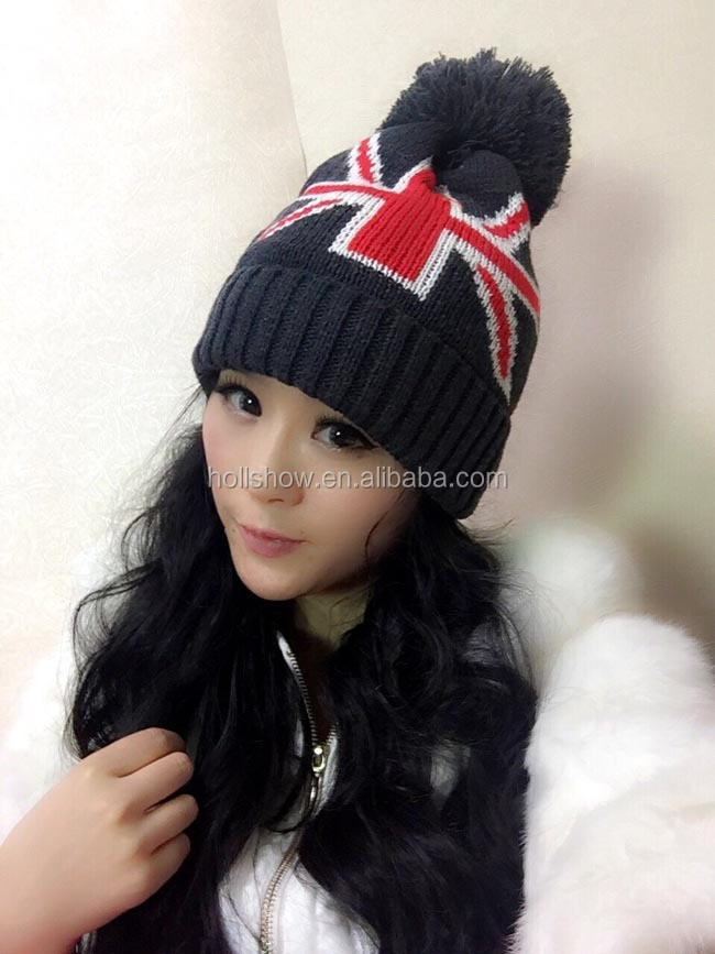 Union Jack Pattern With Ball On Top Fashion Women Winter Knitted Hat