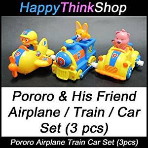 Korean Animation Pororo Mini Airplane Train Car Toy Set(3pcs) with Spring