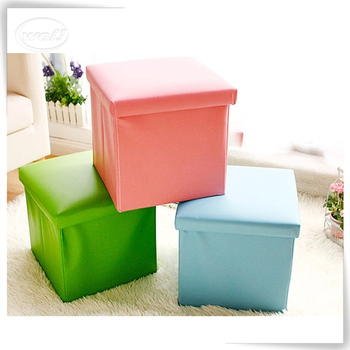 Square pu leather foldable ottoman stool color black