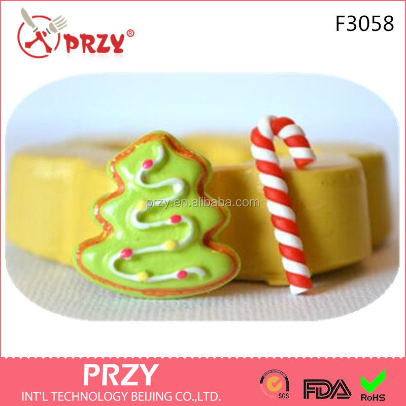 F3058 PRZY Tiny Cabochons Candy Cane Christmas Tree Silicone Fondant Mold Cake Decoration supplier