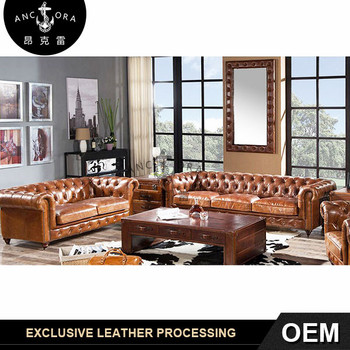 Vintage Leather Chesterfield Brown Leather Couch Sofa A102 Set Buy