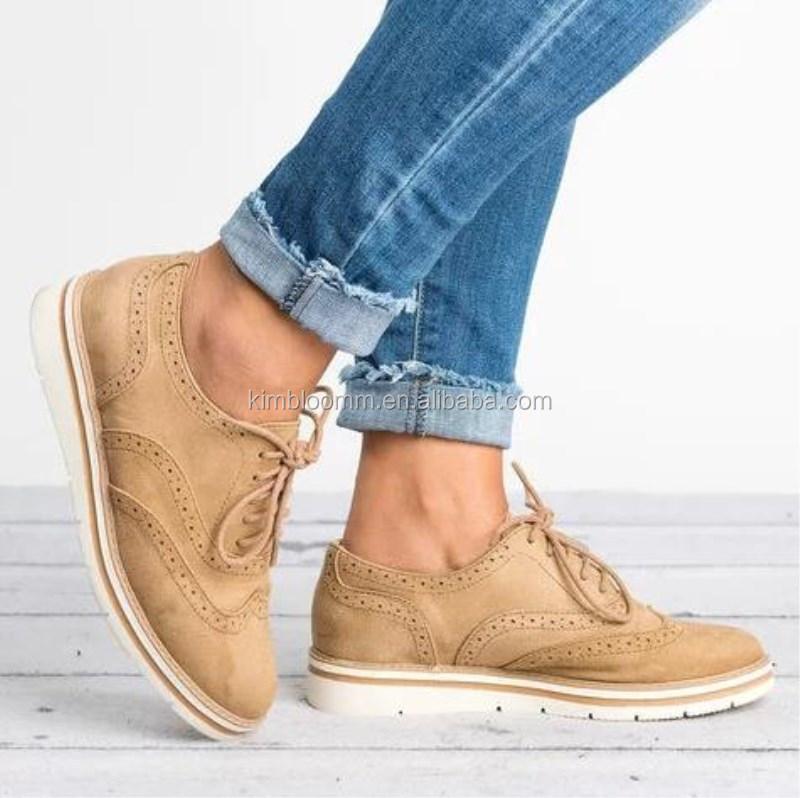 ladies tan lace up schoenen wholesale