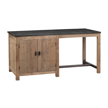 Antique Rustic French Vintage Recycled Wood With Blue Stone Top Kitchen Island