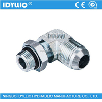 90 degrees elbow JIS to BSPP male gas hydraulic tube connecter with O-Ring adjustable stud end
