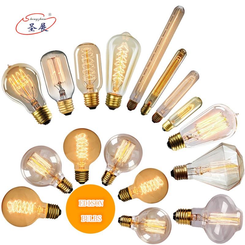 Wholesale 25W 40W 60W Retro Vintage Edison Light Bulb 110V 220V E26 E27 B22 Decorative Lamp Tungsten Filament Incandescent Bulb