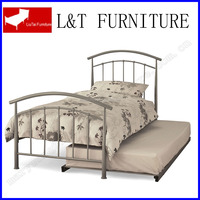 iron twin size bed with trundle sliver color