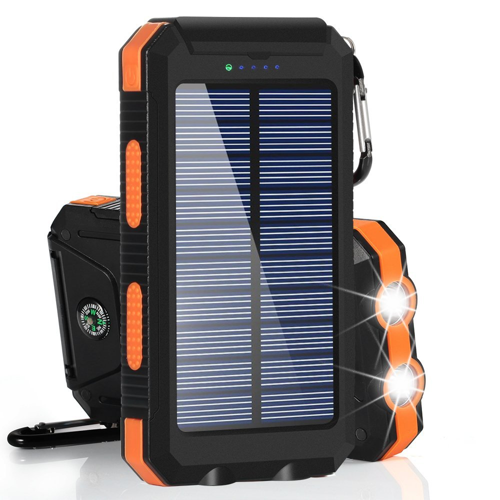 BESWILL Solar Charger, 10000MAH Solar Phone Charger Waterproof External Battery Pack Dual USB Solar Power Bank with 2 Flashlights Carabiner and Compass for Smart Devices