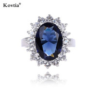 High Quality Sapphire Engagement Ring For Women Blue Diamond Charm Wedding Rings Wholesale