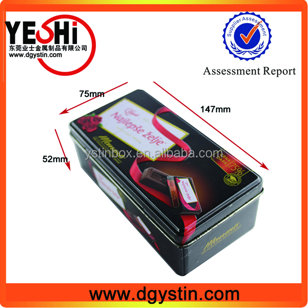 Promotional rectangle chocolate tin box, chocolate container