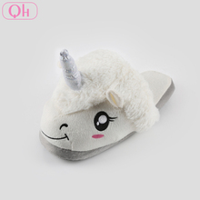 Hot sale personalized cute plush unicorn slippers for children
