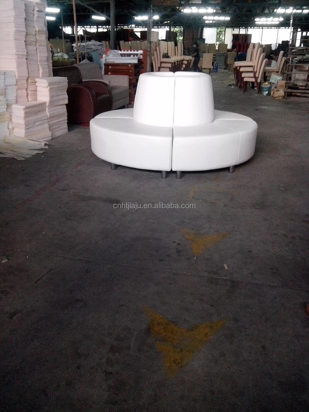 White Pu Sectional Round Sofa Buy White Leather Round
