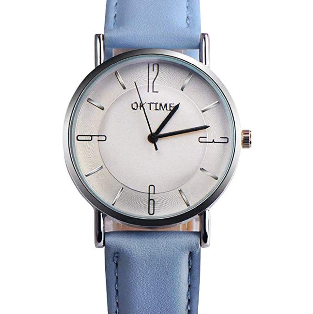 Windoson Women Quartz Watches Clearance Simple Fashion Analog Ladies Watches Teen Girl Watches Comfortable Leather Female Watches (Blue)