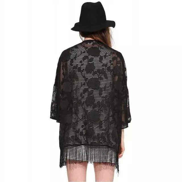 6236d42747 Buy Women Black Floral Lace Organza Cardigan Hollow Out Open Front 3 4  Sleeve Cape Batwing Sleeves Tops Kimono in Cheap Price on m.alibaba.com