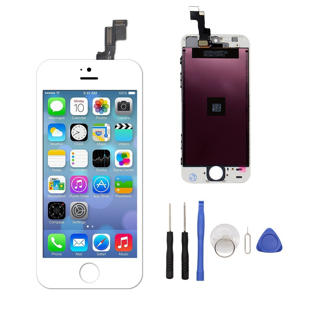 EXW LCD Touch Screen Digitizer Replacement Full Assembly for iPhone 5S with Free Tools Kit (for iPhone 5S White)