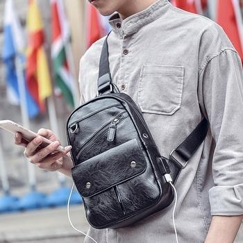 e0f2239adac355 Men's chest sling back pack bag one shoulder single strap backpack for men