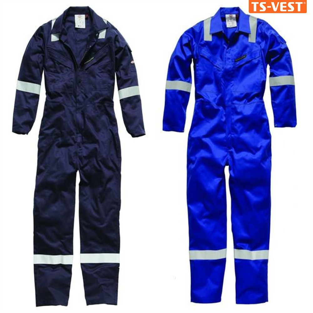 Apparel workwear safety clothing anti-static high visibility zipper closure workers on sale blue coveralls