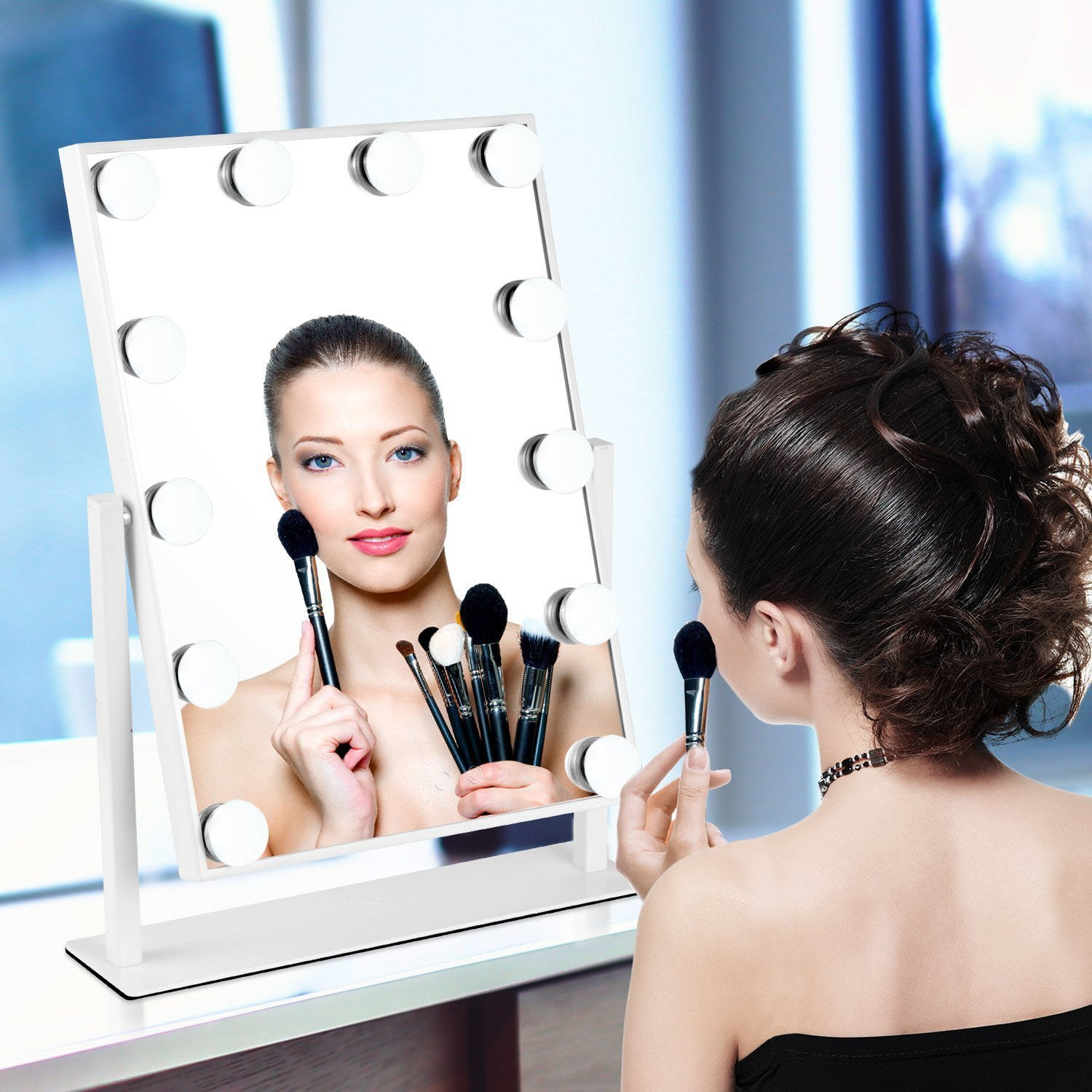 Home Comforts Light Up Hollywood Mirror with Dimmable LED Globe Lights for Makeup, Vanity Table