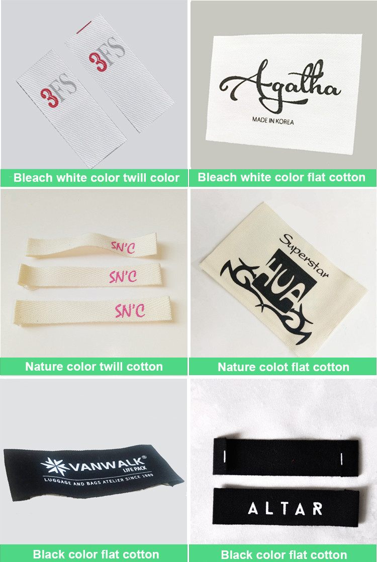 Custom logo printed cotton clothing label,Sewing Fabric printed cotton Labels made in China