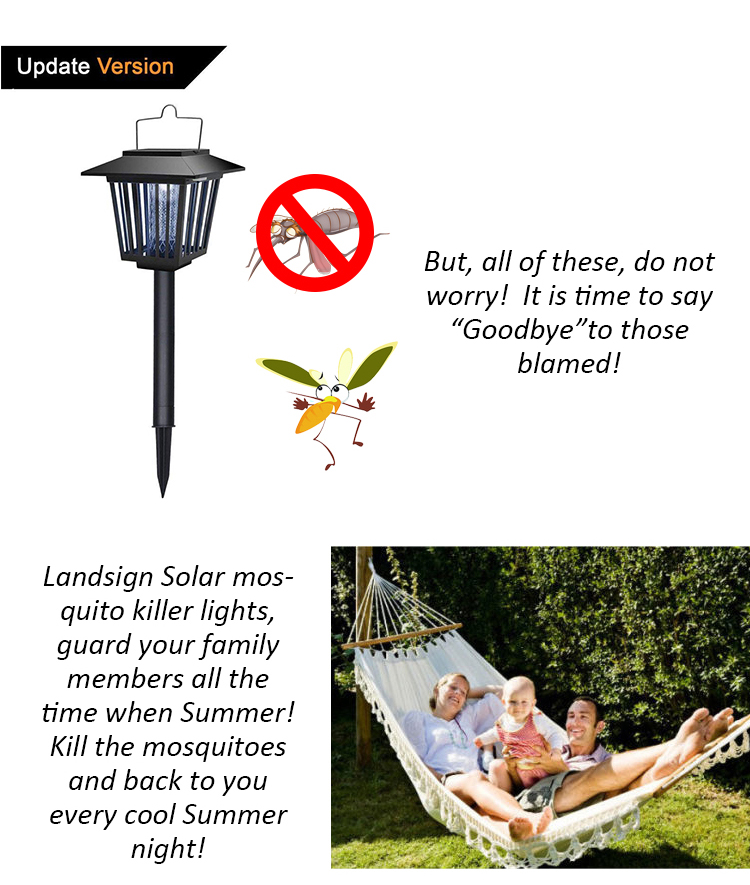 2 in 1 special function lights solar mosquito killer lamp XLTD-101-1 rechargeable led solar mosquito killer Yard Light Lamp