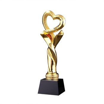 Customized unique award cup deco souvenirs metal crafts unique personalized  resin gold plating trophy with black base business