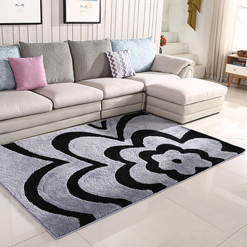Wholesale Modern 3d Flower Rose Design Microfiber Cheap Polyester Floor Grey Shaggy Area Rug Shaggy Carpet For Home Living Room