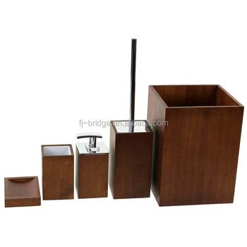 Luxury Wooden 5 Piece Brown Bathroom Accessory Set Buy Bathroom