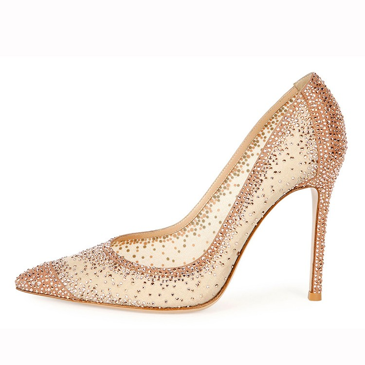 e219b06dcc2 new design beautiful elegant dridal wedding shoes with white mesh and  diamond high heel shoes