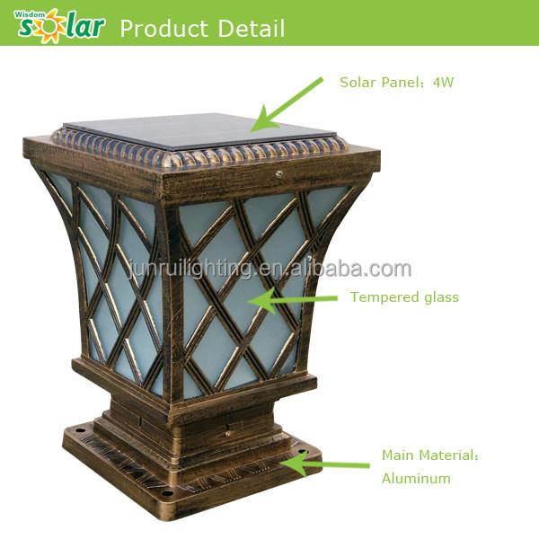 Antique And Classic Style Led Solar Pillar Light,Solar Post Cap ...