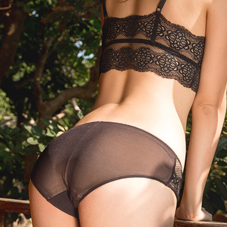 Zwart nieuwe ontwerp vrouwen bras satin bh en panty ultra-dunne beha