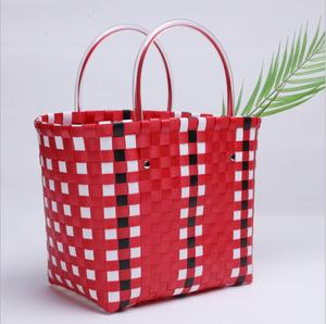 fashion high quality grocery hard plastic tote handle shopping bag reusable