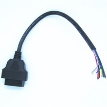OBD2 16pin Female Connector to Open OBD Cable OBDII OBD-ii ODB2 OBD 2 Adaptor
