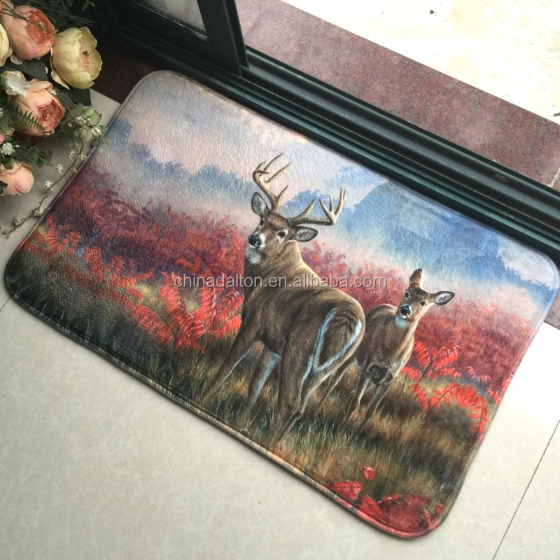 Autumn Mountain Deers Animal Printed Carpet Doormat
