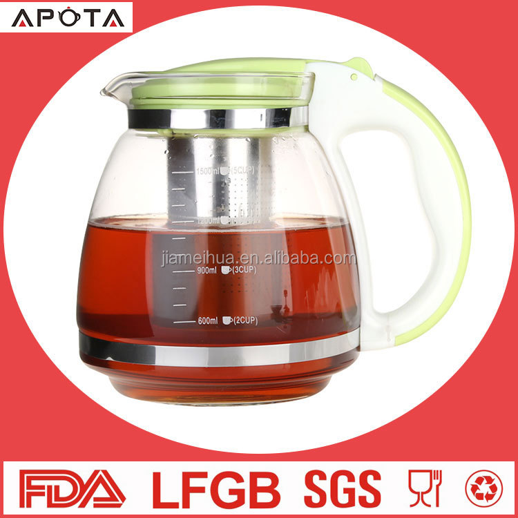 Promotional gift french strainer heat resistant teapot kitchen moroccan glass tea pot for stainless steel glass tea pot sets