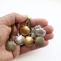 Sea Shell Locket Necklaces with Fresh Pearl